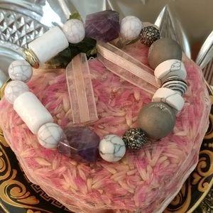 AKOLA Glass & Lava Natural Stones Stretch Bracelet